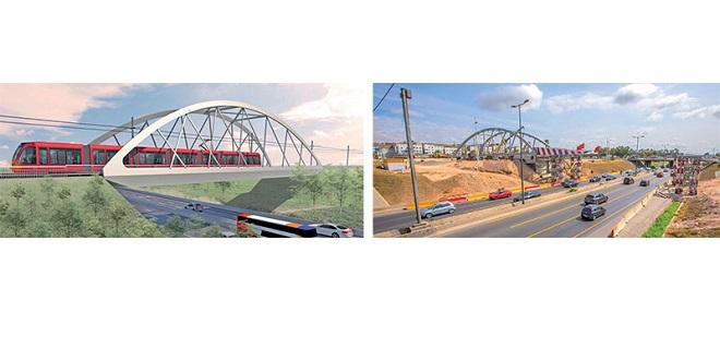 Casa-tramway: Mise en place du pont bow-string