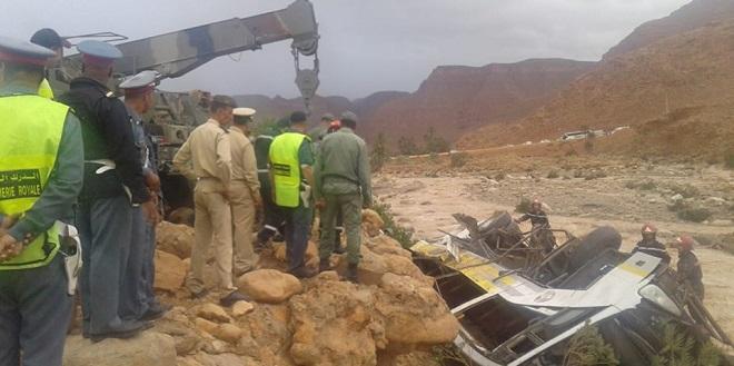 Renversement d'un autocar à Errachidia : le bilan porté à 14 morts