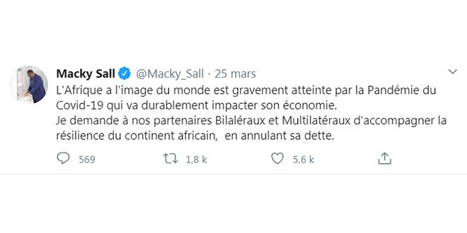 Covid-19: Macky Sall appelle à une annulation de la dette de l'Afrique
