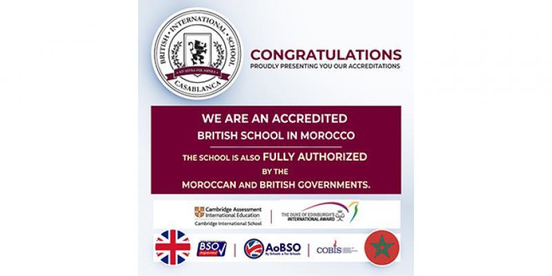La British International School of Casablanca, accréditée Ecole Britannique au Maroc
