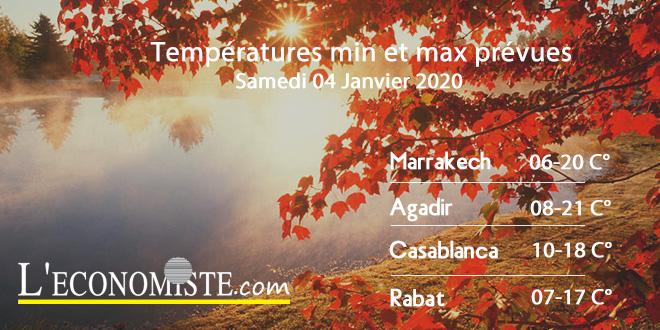 Températures min et max prévues - Samedi 04 Janvier 2020
