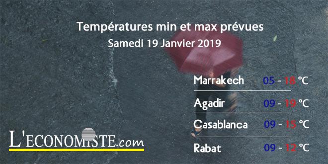 Températures min et max prévues - Samedi 19 Janvier 2019