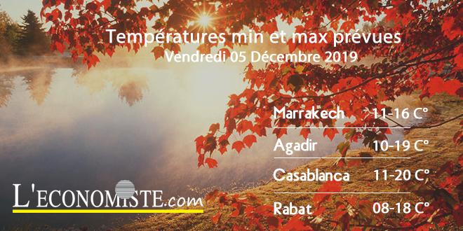 Températures min et max prévues - Vendredi 05 Décembre 2019